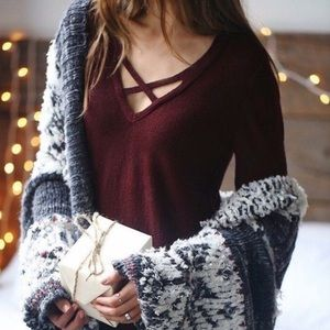 Free People Cross Deep V Pullover Sweater